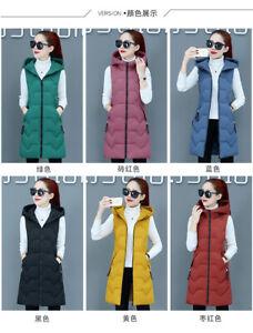 Winter New Women Down Cotton Vest Hooded Waistcoat jacket student Long slim Coat