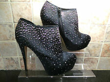 Ladies ALDO AYARZA Black Rhinestone Platform Ankle Boots UK 8 EURO 41 RRP £90
