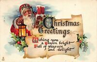 Christmas Postcard Santa Claus Holding a Lantern in Snow Holly Greetings~125629