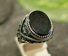 Ausgefallener 925 Sterling Silber Ring Siegelring Onyx Schwarz Oval Türkis Groß