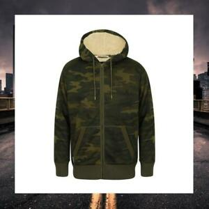 TOKYO LAUNDRY MENS SHERPA LINED CAMO CAMOUFLAGE WINTER HOODIE 1E9707