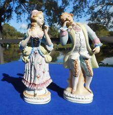 "Vintage Occupied Japan 10"" Victorian Couple Bisque Porcelain Figurines"
