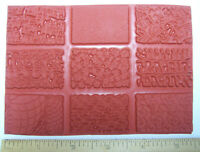 9 Unmounted Texture Stamps Abstract Designs for Stamping Fabric, Paper & Clay