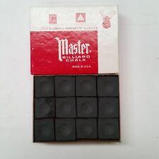 Masters Billiards Pool Snooker CUE CHALK - 12 Pieces - BLACK