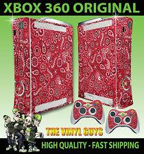 XBOX 360 Rosso Paisley Bandana DO RAG stile Adesivo Cover sottile & 2 Pelli di