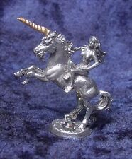 Pewter Unicorn with Maiden & Colorful Crystal