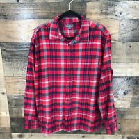 Eddie Bauer Men's Red Navy Plaid Flannel Long Sleeve Button Up Shirt Size 2XL