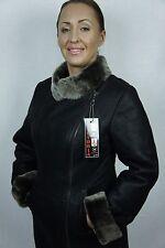 BROWN 100% REAL GENUINE SHEEPSKIN SHEARLING LEATHER COAT JACKET, XS-6X