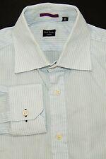 Paul Smith London Men's 15 38 Button Front Dress Shirt Light Blue Pinstriped