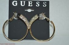 GUESS GOLD-TONE LUXE RHINESTONES HOOP FASHION EARRINGS W/ HINGE CLOSURE NWT