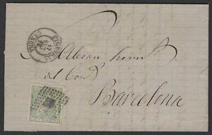Espagne: Pli de 1873 avec timbre 10 C de Ptas vert Oblt Los de points +petit CàD