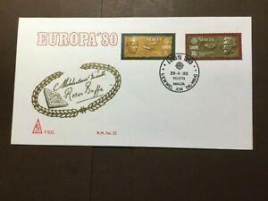 """Malta FDC 1980 """"EUROPA'80"""" (lot474)"""