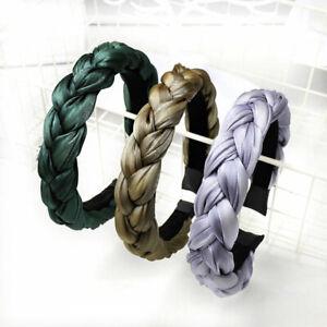 Solid Color Satin Braided Headband Sponge Wide Hair Hoop Women Hair Accessories