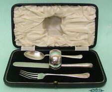 Sterling Silver Christening Fork Knife Spoon & Napkin Ring Set England 1931-3