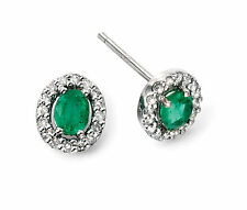 Elements 9ct White Gold Emerald and Diamond Earrings Ge943g