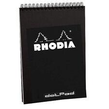"Rhodia #16 Wirebound Notepad 5.8"" x 8.3"" Dot Pad, Black Cover"