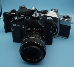 Zenit 12xp 35mm SLR + 35mm F2.8 Optomox Lens Plus Two Working Praktica Bodies
