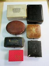 JOB LOT of 7 ANTIQUE & VINTAGE LEATHER JEWELLERY BOXES, CASES - Brooch ect