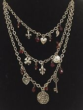 3 Layer Charm Necklace Silver Burgundy Beaded Accents Heart fleur de lis Key