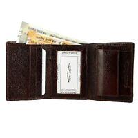 Genuine Leather Men's Trifold Wallet Slim Cowboy Brown Credit Card Coins Purse