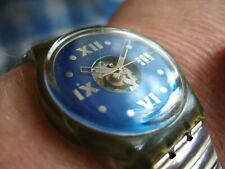 Vintage 1991 Swatch SWISS MADE SAPHIRE SHADE GN110 Blue Face Watch!