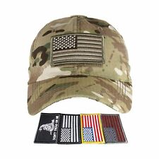 Baseball Cap USA Flag American Mens Hat Detachable Patch Mesh Tactical Army Caps
