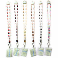 ID Badge Card Holder Beaded Breakaway Lanyard Neck Strap Key Girls School Nurse