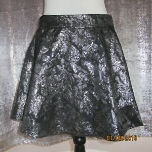 Ladies Aline Mini skirt Size12 black with silver print by 147 x Iove fashion