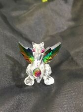 CUT CRYSTAL MINIATURE DRAGON WITH IRIDESCENT BALL AND WINGS 2 1/2""