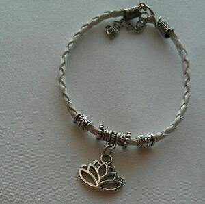White Leather Bracelet Lotus Yoga Flower Dangle Charm Jewelry Men's Woman