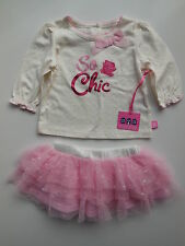BABY GIRL OUTFIT TOP + TUTU SKIRT PARTY CLOTHES SIZE 000 FITS 3M