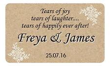 21 LACRIME di gioia Personalizzato, Gloss Matrimonio adesivi per tessuto & Fazzoletto Pack