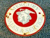 VINTAGE MERCURY GASOLINE PORCELAIN GAS SERVICE STATION AUTOMOBILE AD SIGN