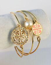 Antique Cross, Crystal Studded, Pearl Set of 3 Bangle Bracelets - Gift Boxed