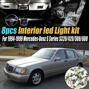 8Pc Car Interior LED White Light Bulb Kit for 1994-1999 Mercedes-Benz S Series