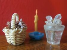 Lot Antique Vintage Miniature Dollhouse Candle, Flower Pot & Weaved Basket