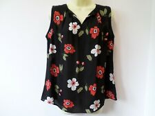M&S COLLECTION BLACK FLORAL SLEEVELESS BLOUSE SIZE 12