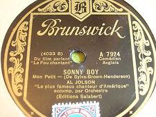 """78 rpm- AL JOLSON - Sonny boy- BO """"le fou chantant"""" - BRUNSWICK 7924"""
