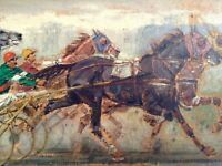 Antique Oil Painting by André FREMOND (1884-1965 French) Horse racing Sulky 1926