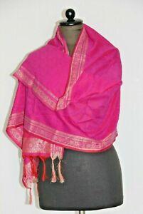 Schal Seidentuch Silk Scarf Pink Camouflage geblümt Handarbeit-Indien