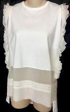 No 21 Blouse Ivory Sleeveless Silk And Cotton Ruffle  NWT $625 Size 38 Xs