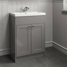 Traditional 600mm Bathroom Vanity Unit Basin Sink Storage Cabinet Furniture Grey