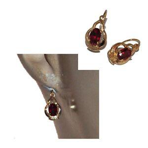 Boucles d'oreilles vintages dormeuses plaqué or 18 carats cristal rouge bijou
