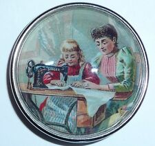 Girl Getting Sewing Lessons From Mom Lady Looking Glass Domed Ant.Silver Button