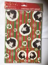 Happy Christmas Black & White Kitten Cat gift wrap 6 sheets & 6 tags Red Green