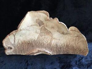 AMAZING !! Vintage XL Etched Wildlife Shelf Mushroom Fungus Conk Folk Art Signed