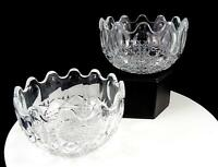 """FEDERAL GLASS 2 PIECE CLEAR WINDSOR BUTTON & CANE 4 1/2"""" RUFFLED BOWLS 1960's"""