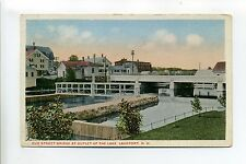 Lakeport NH Elm Street Bridge at Outlet, homes, 1917 antique postcard