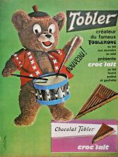PUBLICITÉ 1963 CHOCOLAT TOBLER CRÉATEUR DU TOBLERONE CROC'LAIT -OURS TAMBOUR