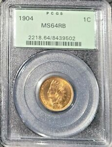1904 ihc Indian head cent ms64 RB PCGS 2218 Type 3 Bronze